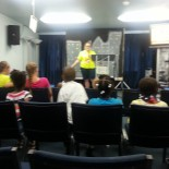 Ms. Kendra (VBS director) welcoming little people